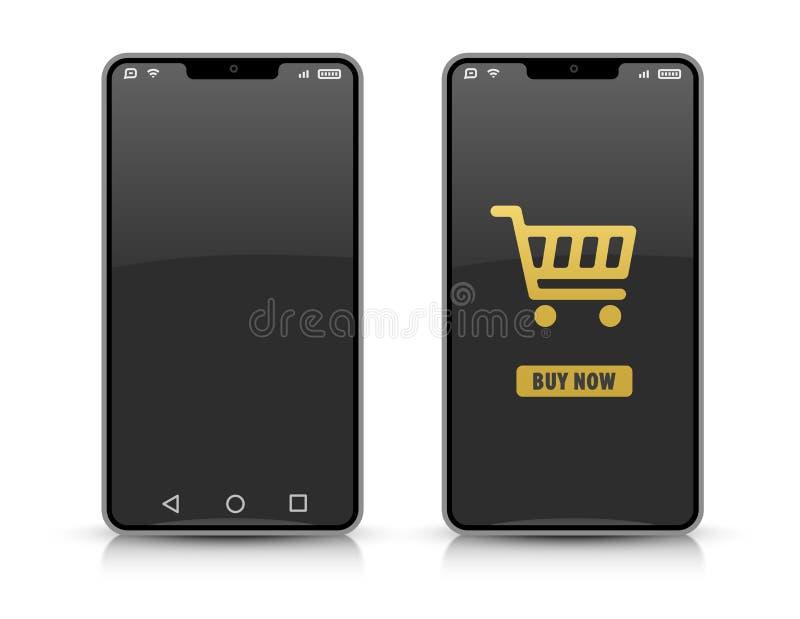 Mobiltelefonsmartphones för online-shopping mall också vektor för coreldrawillustration stock illustrationer