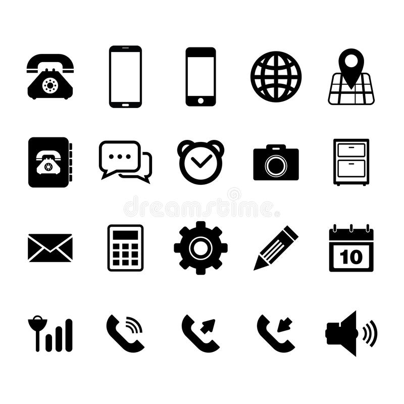 Mobiltelefonsymbol stock illustrationer