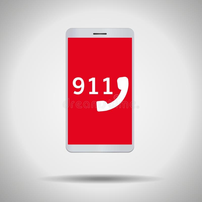 mobiltelefonsymbol för 911 appell royaltyfri illustrationer