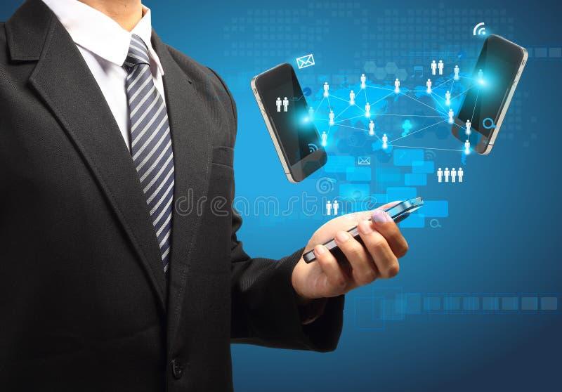 Mobiltelefonteknologiaffär i hand vektor illustrationer