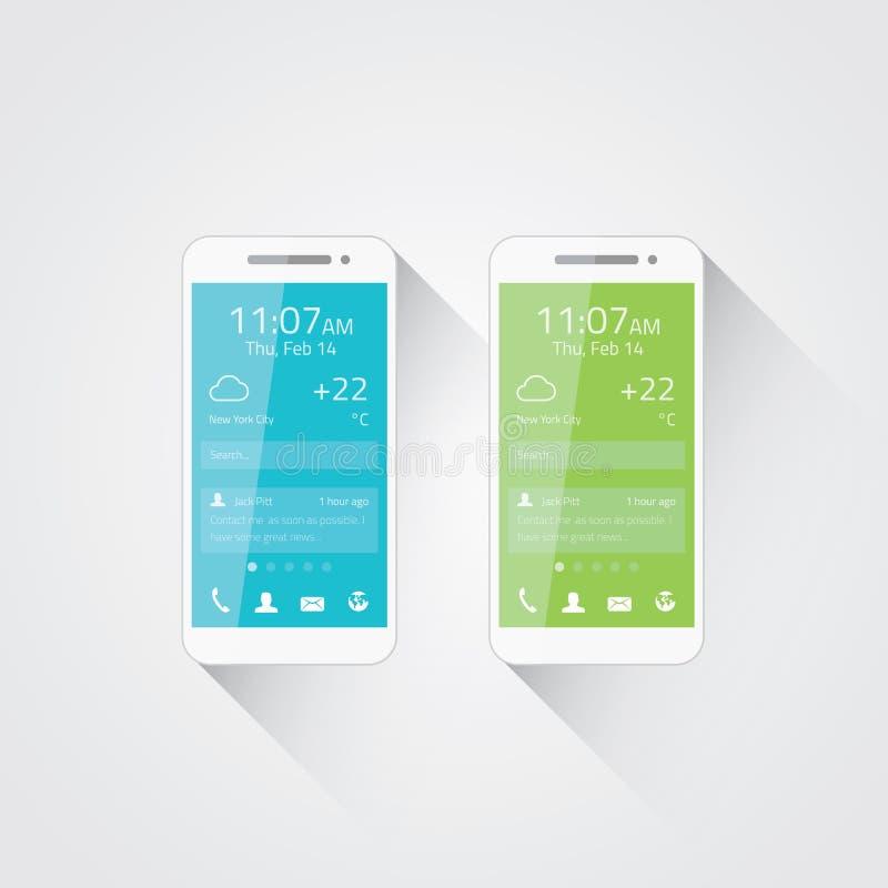 Mobiltelefonutvecklingsvektor stock illustrationer