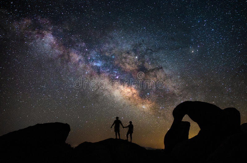 Mobius Arch in Alabama Hills under the Milky Way royalty free stock image