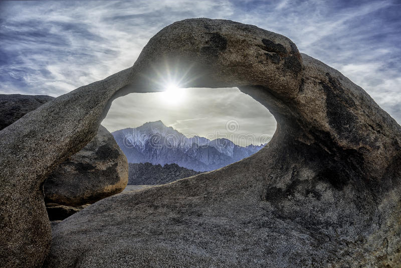 Mobius Arch and Mount Whitney stock photography