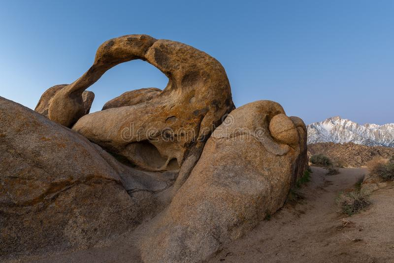 Mobius Natural Arch in Alabama Hills, California royalty free stock images