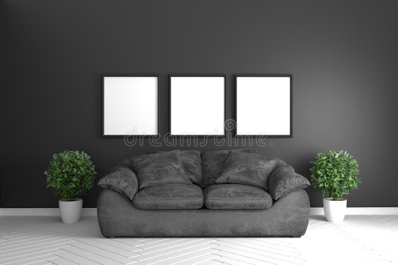 MoBlack ruminre - modernt tropiskt stilbegrepp med den svarta soffan och växter i det vita golvet på svart väggjordning framf?ran royaltyfri illustrationer