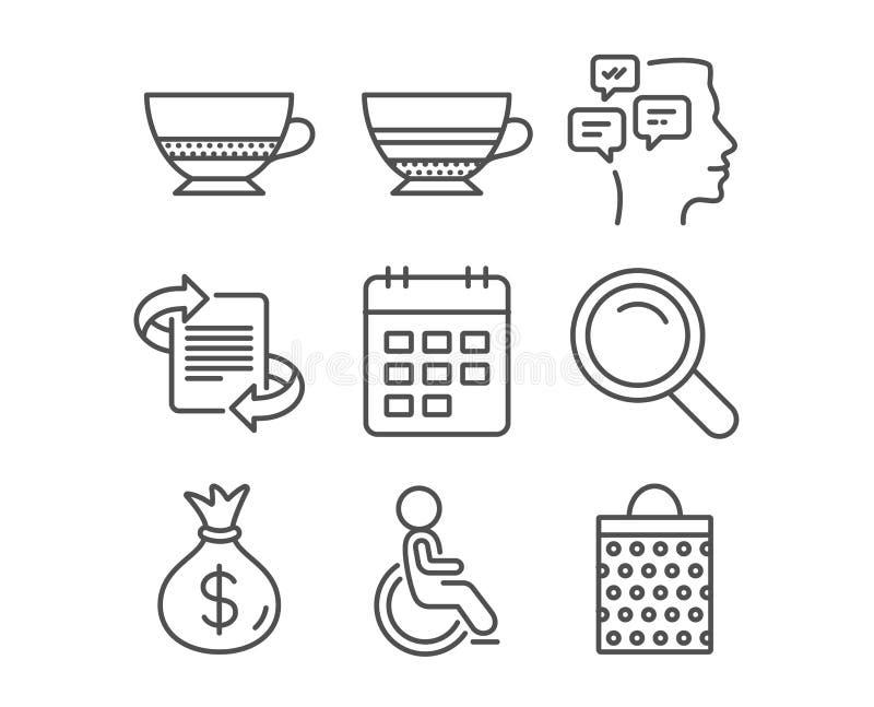 Moca, icone del calendario e disattivata Segni del caffè di ricerca, dei messaggi e di Bombon royalty illustrazione gratis
