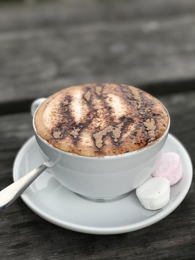 Mocachino-espresso, geranselde melk, chocoladepoeder & ten slotte chocoladesaus royalty-vrije stock afbeeldingen