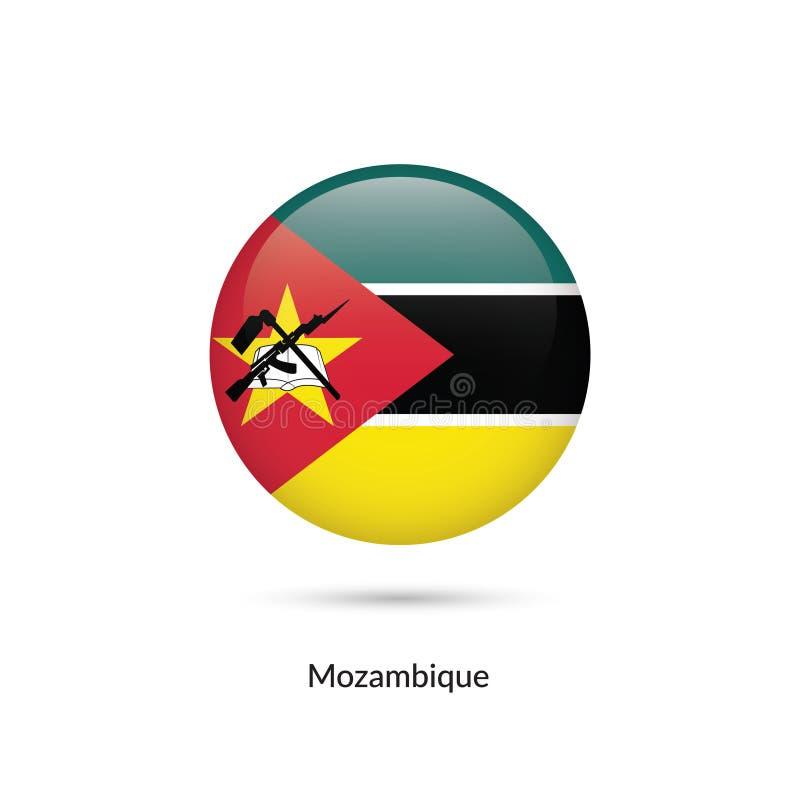 Mocambique flagga - rund glansig knapp stock illustrationer