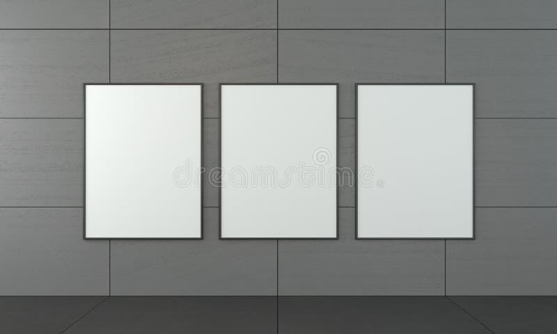 Mocap с 3 пустыми картинами в рамках Современный интерьер в стиле просторной квартиры иллюстрация штока
