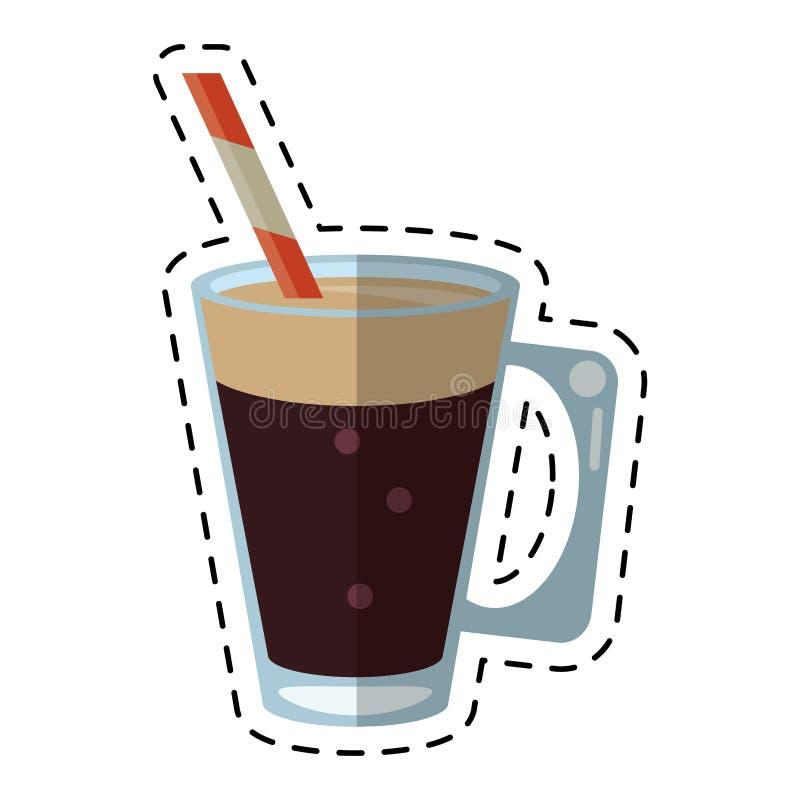 Mocca filiżanki kremowy słomiany napój - kropkuje linię royalty ilustracja