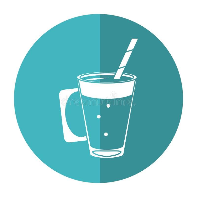 Mocca filiżanki kremowy słomiany napój - round ikona ilustracji