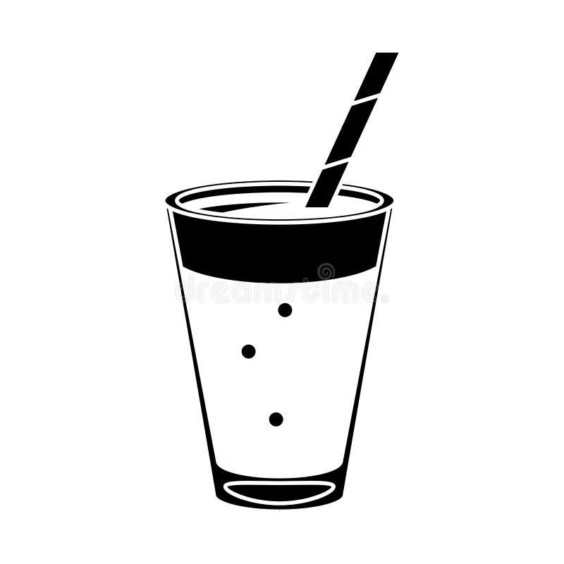 Mocca filiżanki napoju kremowy słomiany piktogram royalty ilustracja