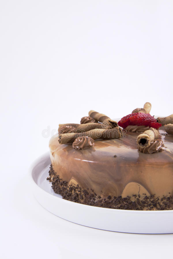 Download Mocha cake stock image. Image of celebrate, plate, strawberries - 18668673