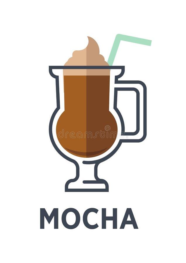 Mocha chocolade-op smaak gebrachte die variant van latte op witte achtergrond wordt geïsoleerd stock illustratie