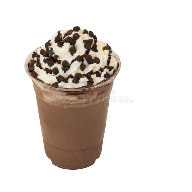 Mocha coffee smoothie in takeaway glass on white. Mocha coffee smoothie in takeaway glass isolated on white background with clipping path stock photography