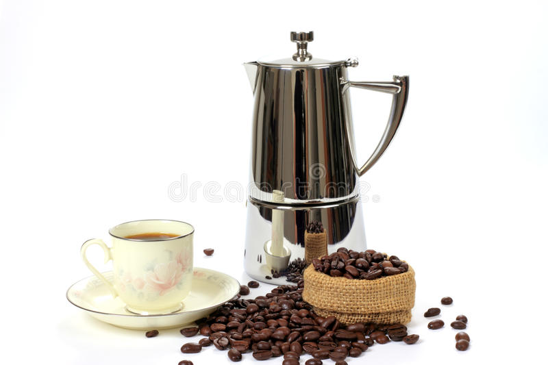 Download Mocha pot, coffee stock photo. Image of coffee, beans - 10742498