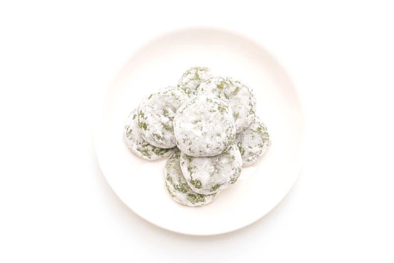 mochi del té verde con la haba roja imagenes de archivo