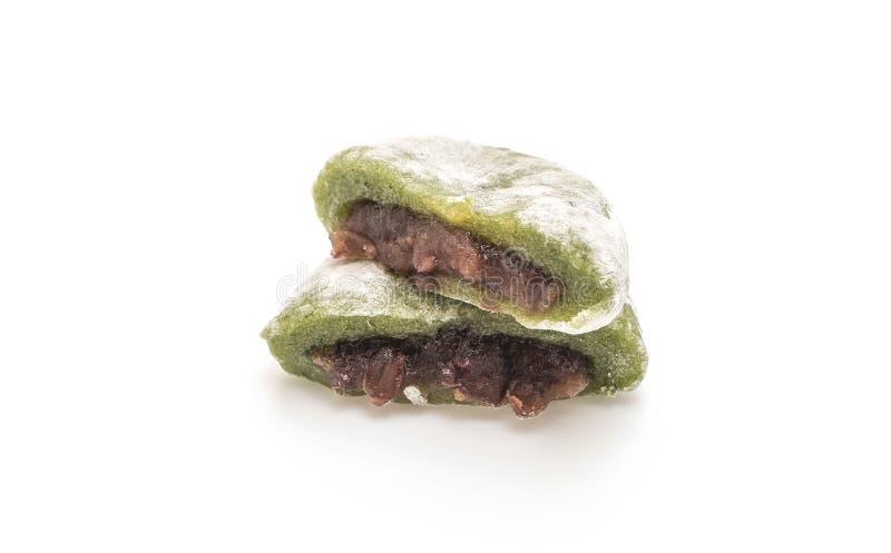 mochi del té verde con la haba roja imagen de archivo libre de regalías