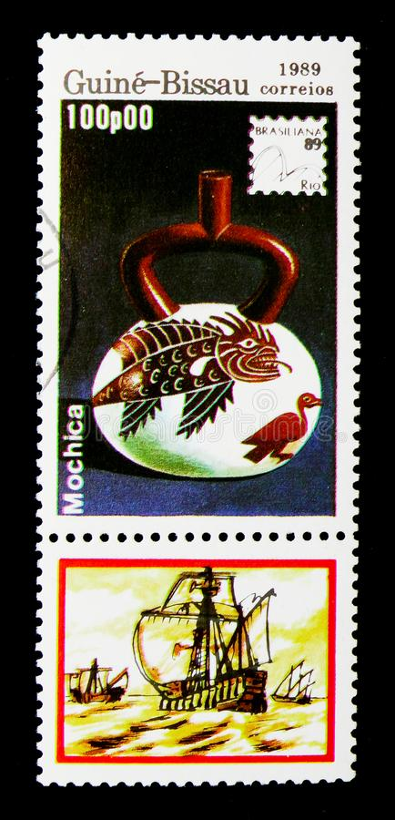 Mochica, International Philatelic Exhibition - 89 Brasiliana ser. MOSCOW, RUSSIA - DECEMBER 21, 2017: A stamp printed in Guinea-Bissau shows Mochica royalty free stock images