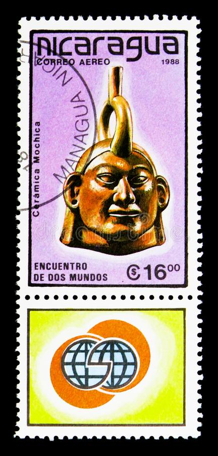 Mochica keramiskt huvud, Pre-Columbian konstserie, circa 1988 royaltyfri fotografi