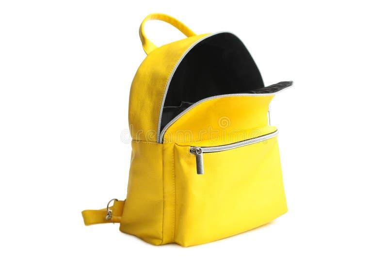 Mochila abierta amarilla foto de archivo libre de regalías