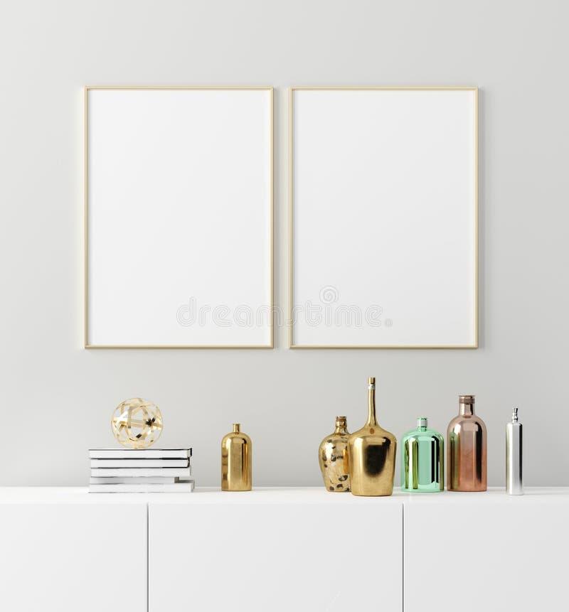 Mochila de cuadro de afiche con elegantes botellas antiguas sobre la mesa sobre fondo blanco vacío de la pared libre illustration