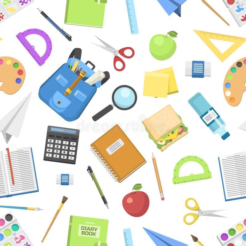 Mochila del bolso de escuela por completo del modelo inconsútil de la cremallera de los niños de las fuentes del saco del ejemplo ilustración del vector