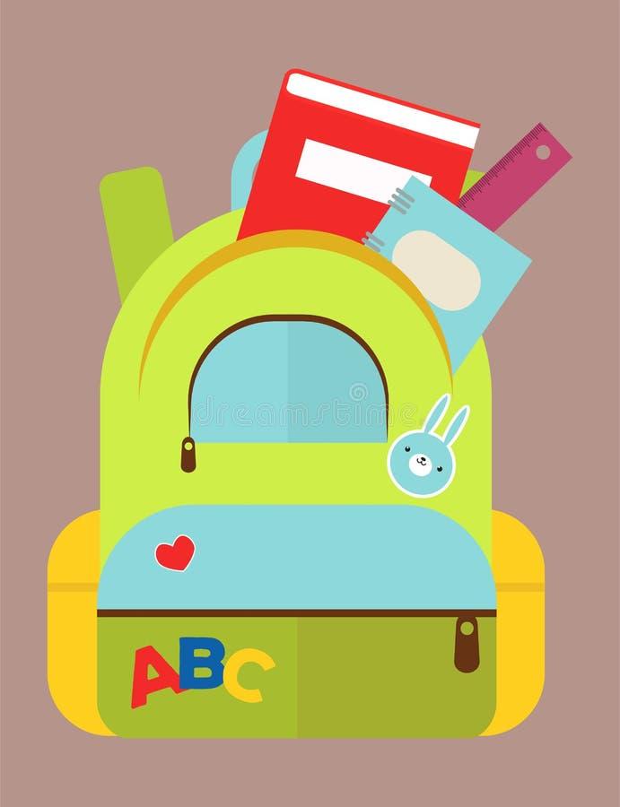 Mochila del bolso de escuela por completo del ejemplo educativo del vector del saco de la cremallera inmóvil de los niños de las  stock de ilustración
