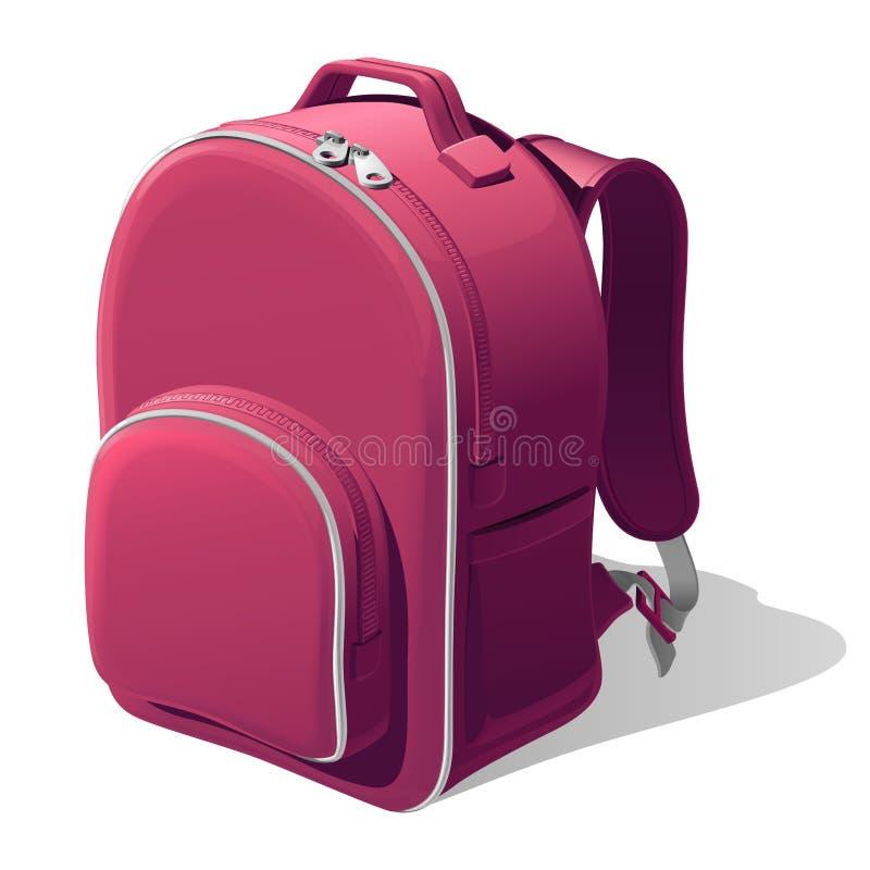 Mochila rosada de la escuela con correas de hombro y una cremallera, aislada en un fondo blanco stock de ilustración
