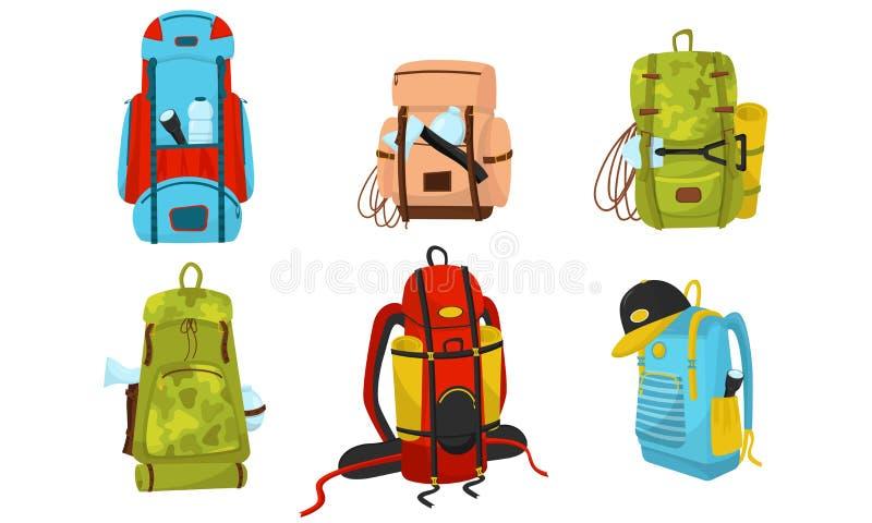Mochilas de acampado Conjunto ilustrado de vectores coloridos Sacos De Aventura Para Conceptos De Expedición ilustración del vector