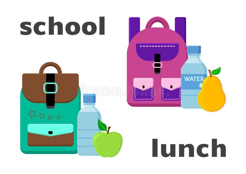 Mochilas de la escuela y comida del almuerzo Vector stock de ilustración