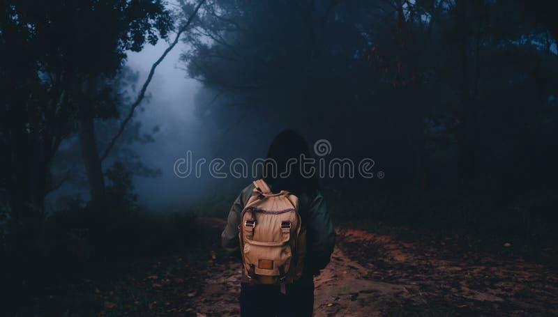 Mochileiro asiático da mulher em mais foerest em fugas naturais na manhã, feriado das férias na floresta tropical foto de stock royalty free