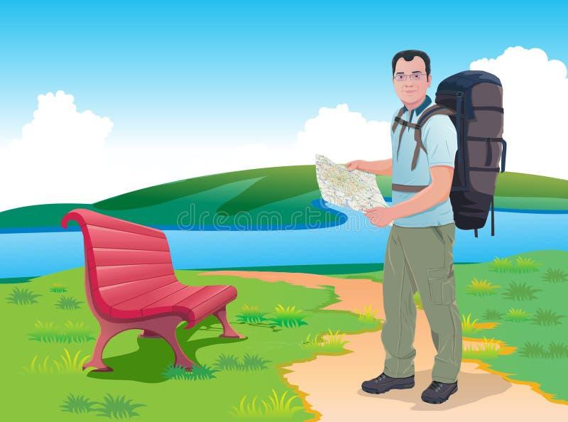 Mochileiro da aventura com mapa ilustração stock