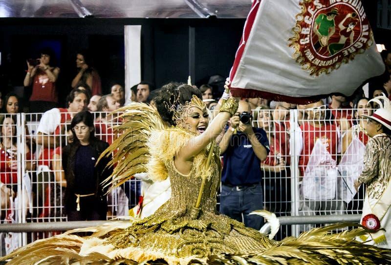 Mocidade Alegre - Carnaval Dancer- São Paulo, Brasil 2015. Flag bearer for the samba school Mocidade Alegre parading at Carnaval held at the Sambodromo do royalty free stock photography