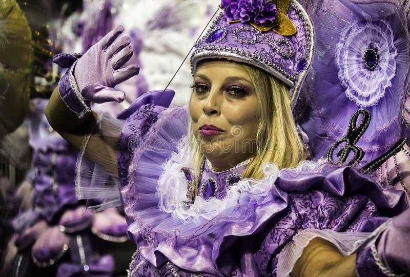 Mocidade Alegre - Carnaval Dancer- São Paulo, Brasil 2015. Performers for the samba school Mocidade Alegre parading at Carnaval held at the Sambodromo do royalty free stock photo