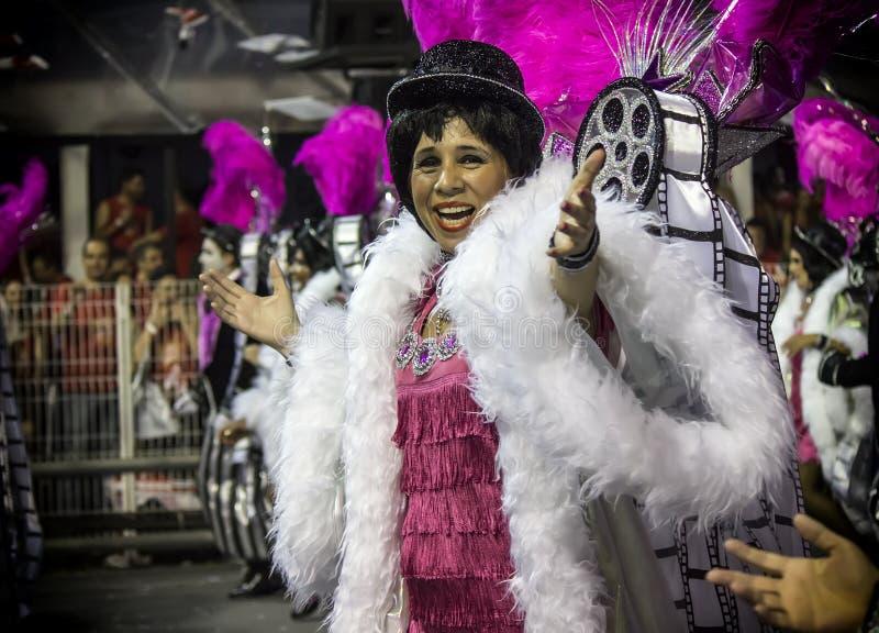 Mocidade Alegre - Carnaval Dancer- São Paulo, Brasil 2015. Samba dancer parading for the samba school Mocidade Alegre at Carnaval held at the Sambodromo do royalty free stock photography