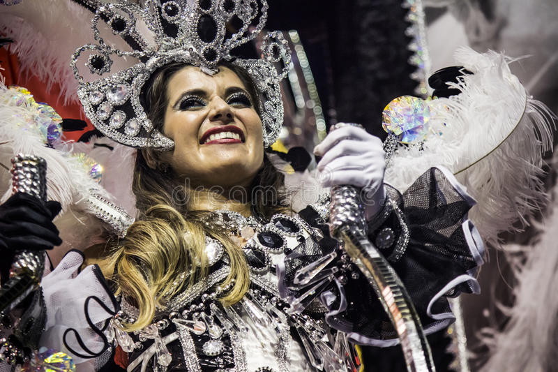Mocidade Alegre - Carnaval - São Paulo, Brasil - 2015. Samba dancers in costume parading for the samba school Mocidade Alegre held at the Sambodromo do stock images