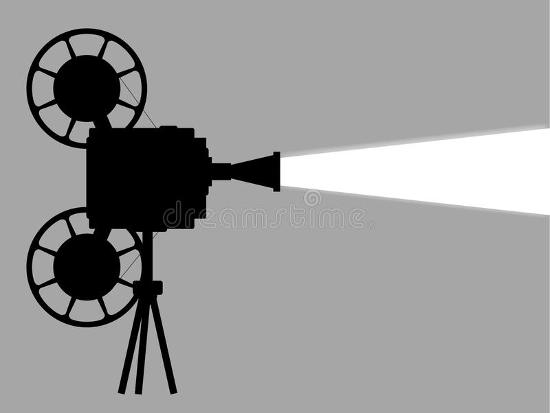 Movie Cine Projector. A mocie cinema ine projector silhouette with white beam and copy space vector illustration