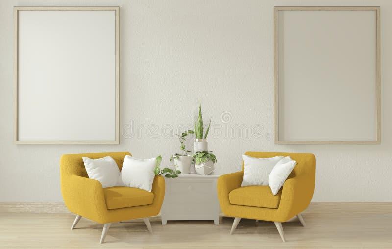 Mock omhoog - De binnenposter maakt de woonkamer schoon met gele zacht armschaar 3D-rendering vector illustratie
