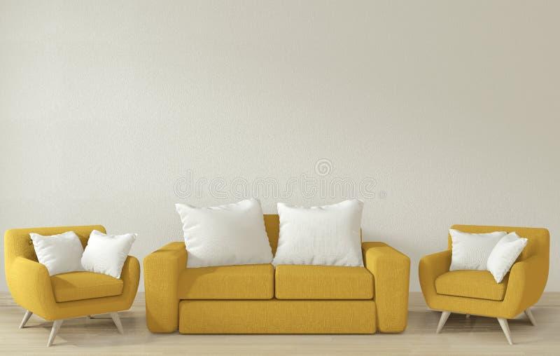 Mock omhoog - De binnenposter maakt de woonkamer schoon met gele zacht armschaar 3D-rendering royalty-vrije illustratie