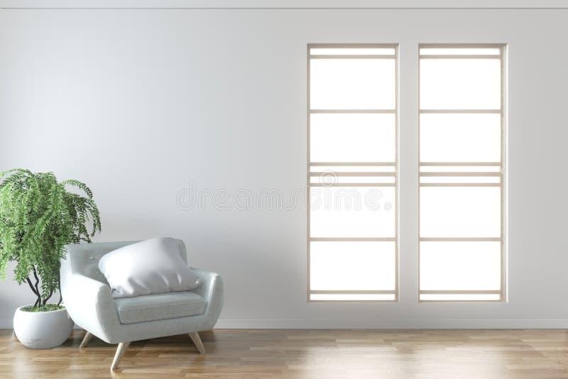 Mock omhoog - De elegante mock van de ruimte binnenshuis omhoog met grijs stijlvolle, comfortabele armstoel en kader op de witte  royalty-vrije illustratie