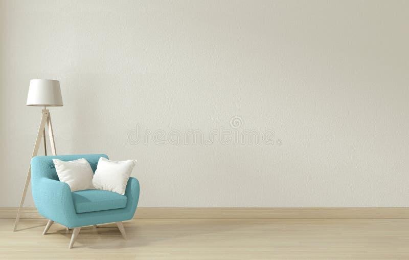 Mock omhoog - De poster van het Binnenhuis maakt de woonkamer schoon met blauwe armstoel en versiering 3D-rendering vector illustratie