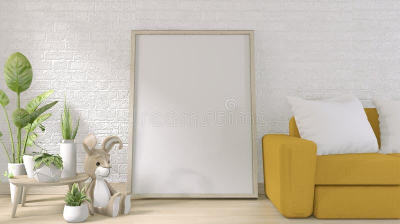 Mock omhoog - gele sofa en posterframe op witte bakstenen wand op vloer houten minimale vormgeving 3D-rendering vector illustratie