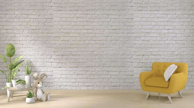 Mock omhoog - gele sofa op witte bakstenen wand op vloer houten minimumontwerp 3D-rendering stock illustratie