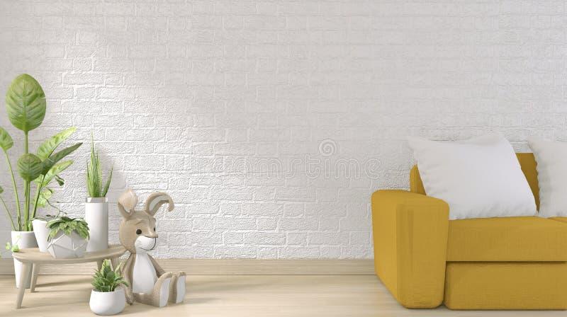 Mock omhoog - gele sofa op witte bakstenen wand op vloer houten minimumontwerp 3D-rendering royalty-vrije illustratie