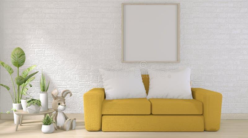 Mock omhoog - gele sofa op witte bakstenen wand op vloer houten minimumontwerp 3D-rendering vector illustratie