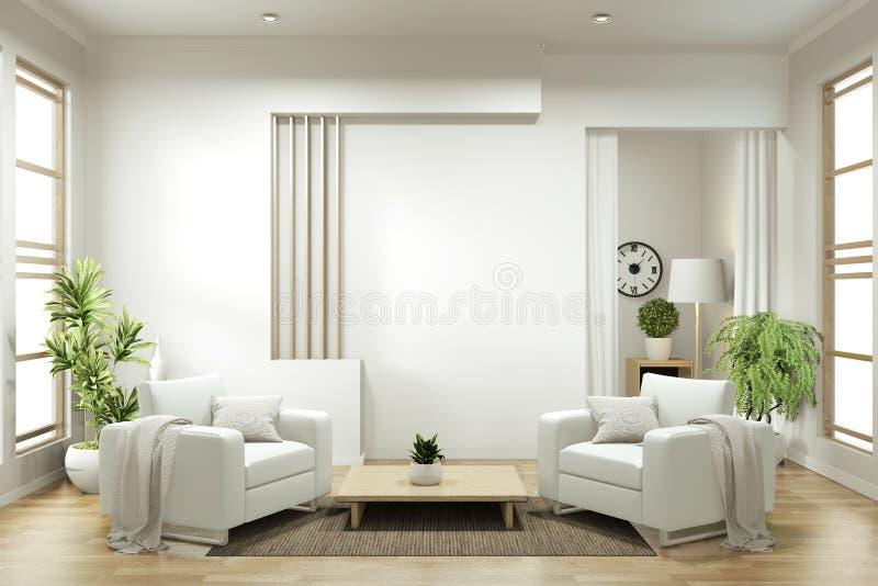 Mock omhoog - interieurontwerp, ingevroren moderne levensstijl met armstoel en versiering 3D-rendering stock illustratie