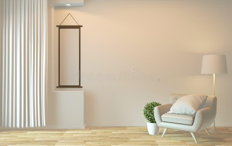 Mock omhoog - interieurontwerp, ingevroren moderne levensstijl met armstoel en versiering 3D-rendering royalty-vrije illustratie