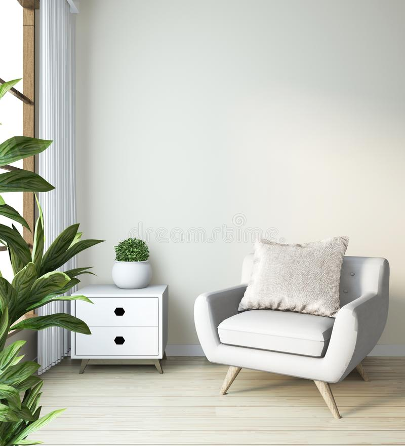 Arm chair mock up on modern zen room japanese style.3D rendering stock illustration