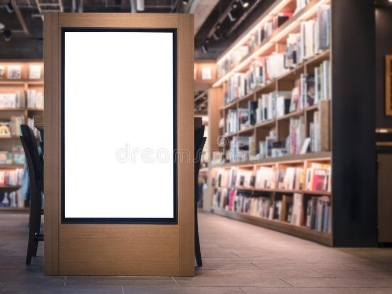 Mock up Banner blank sign Bookstore interior Background. Mock up Banner blank sign media Light box Bookstore Book shelf interior Background stock image